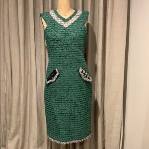 Authentic Chanel Green tweed dress